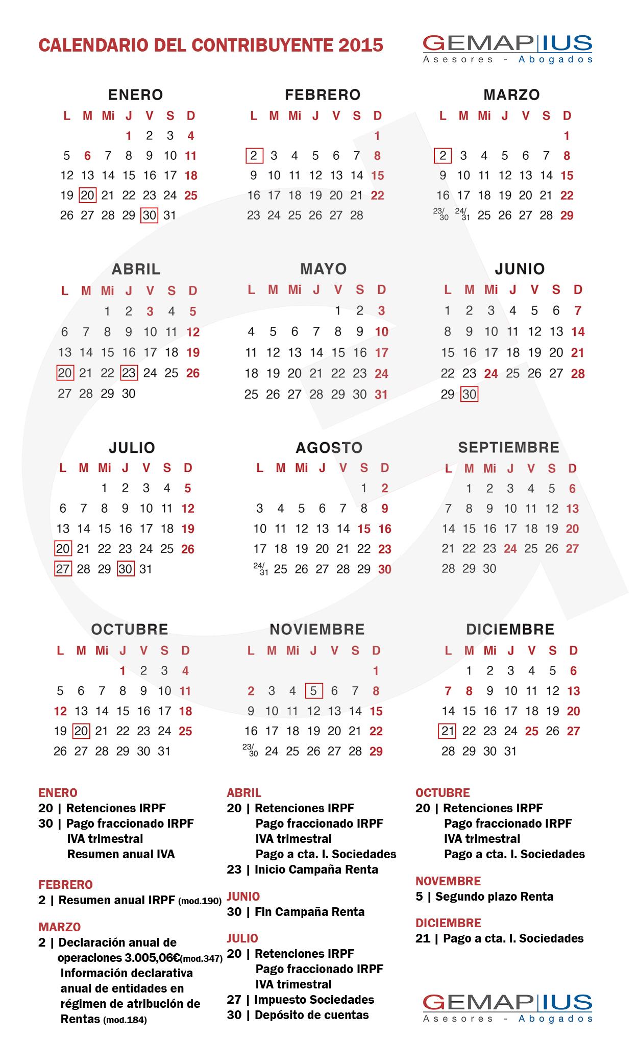 Calendario Contribuyente 2015